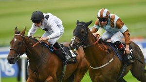 Caspian Prince, right, with Declan McDonagh up, on their way to winning the 2017 Sapphire Stakes