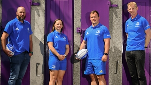 Leinster women's head coach Ben Armstrong, Michelle Claffey, Ed Byrne and Leinster head coach Leo Cullen at the announcement