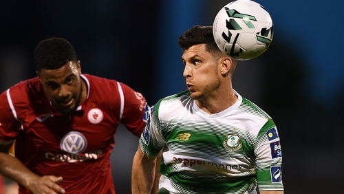 Graham Cummins (R) came off the bench for Shamrock Rovers in their 2-2 draw with SK Brann