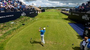 A £41 million drive: Rory McIlroy tees off during a practice round ahead of The Open at Portrush. Photo by Ramsey Cardy/ Sportsfile