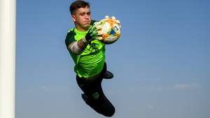St Pat's goalkeeper Brian Maher makes a spectacular save during Republic of Ireland Under-19 training