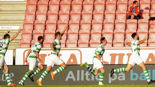Roberto Lopes of Shamrock Rovers celebrates scoring his sides second goal at Brann