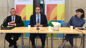 (L-R) Paul Reid, HSE; Minister for Health Simon Harris; Laura Magahy, Sláintecare at today's launch of the new healthcare plan