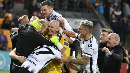 Dundalk celebrate their shoot-out win