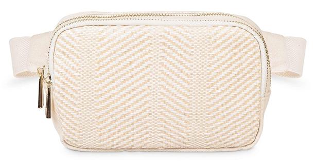 Oliver Bonas Textured Woven White Belt Bag