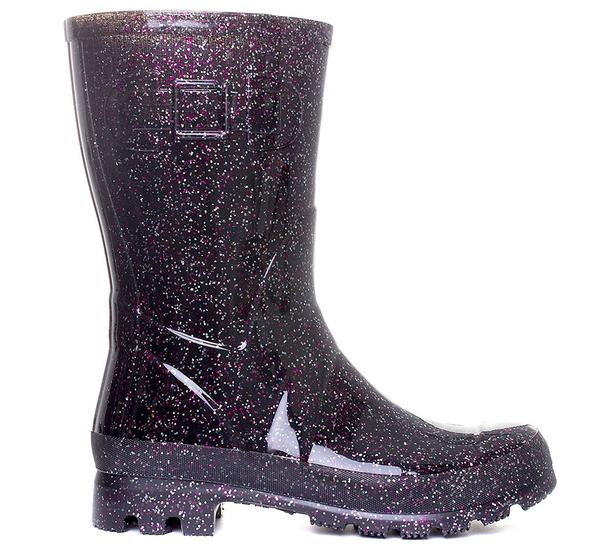 Shoezone Womens Black Multi Glitter Wellington Boots