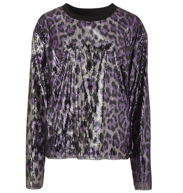 Simply Be Purple Animal Sequin Sport Rib Top