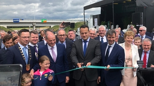 Taoiseach Leo Varadkar cutting the ribbon on the €400m M11 extension today