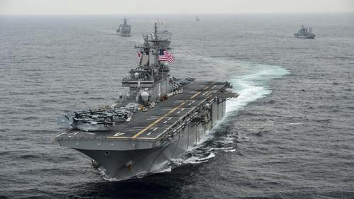 The amphibious assault ship USS Boxer patrolling in the Strait of Hormuz near Iran