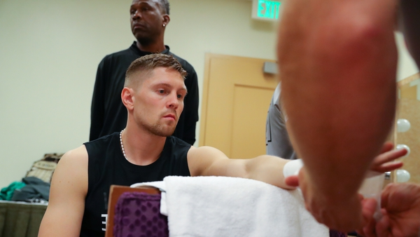 Jason Quigley gets his hands wrapped prior to the fight