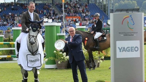 Cian O'Connor celebrates