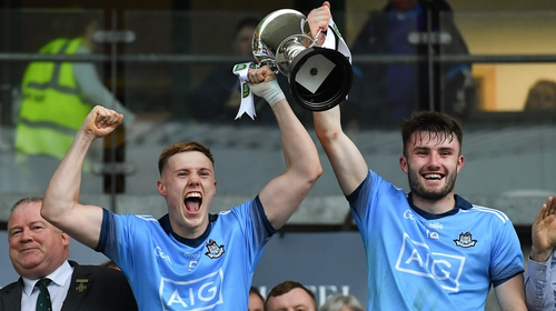 Dublin joint captains Kieran Kennedy, left, and James Doran lift the cup