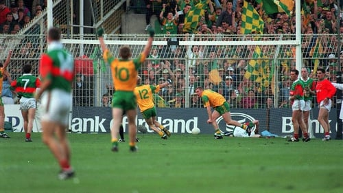 Tommy Dowd wheels around in celebration after scoring a critical goal in the 1996 All-Ireland final replay