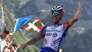 Thibaut Pinot celebrates stage victory