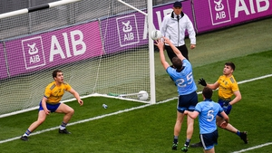 Dean Rock palms the ball to the back of the Roscommon net