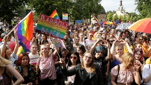 Some 800 supporters of LGBT+ rights marched through the city some 200 km northeast of Warsaw