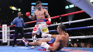 Manny Pacquiao overcame Keith Thurman in the MGM Grand