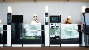 Do you have a reservation? The robot check-in at the Henn-na Hotel in Japan