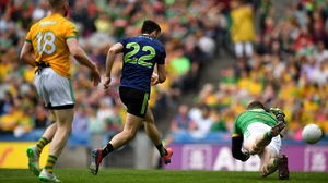 Kevin McLoughlin taps the ball home for Mayo's first goal