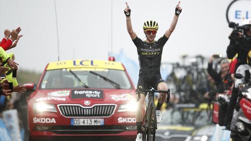 Simon Yates celebrates