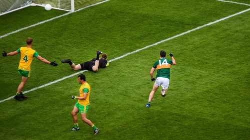 Kerry's Paul Geaney fires to the back of the Donegal net in Croke Park