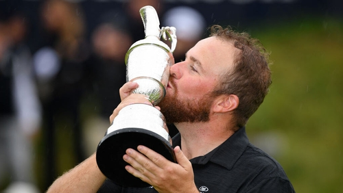 Shane Lowry kisses the Claret Jug after his victory at Royal Portrush