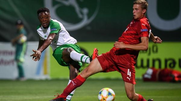 Jonathan Afolabi (L) scored against the Czech Republic in the U19 Euros