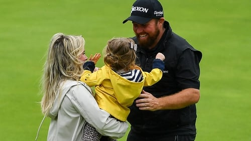 Shane Lowry with his wife Wendy and daughter Iris after winning the Open