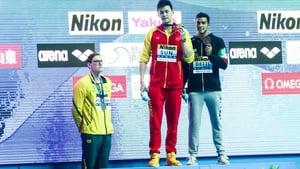 Mack Horton (L) refused to share the podium with Sun Yang (C) last month