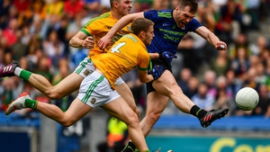 Seamus O'Shea of Mayo in action against Conor McGill and Shane Gallagher of Meath during Sunday's Super 8s clash