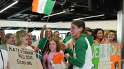 Kate O'Connor, silver medal winner from the Heptathlon event at the European U20 Athletics Championships arrives back at Dublin Airport