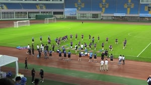 Manchester City players during the training session in Shanghai