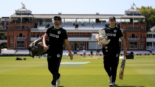 James Shanon (left) and Kevin O'Brien coming off the hallowed turf at Lord's following a nets session ahead of the historic Test