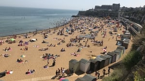 In the UK, crowds flocked to the beach to enjoy the good weather