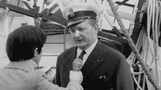 Captain H N Greenlee speaking to Tom MacSweeney 1974