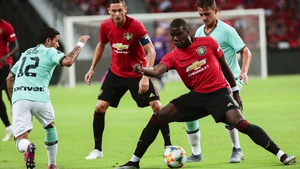 Paul Pogba in possession during United's 1-0 win over Inter Milan in Singapore last Saturday