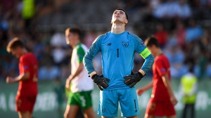 Goalkeeper Brian Maher reacts to another Portuguese goal