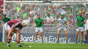 Nickie Quaid (2nd from L) faces a Joe Canning free in last year's All-Ireland final