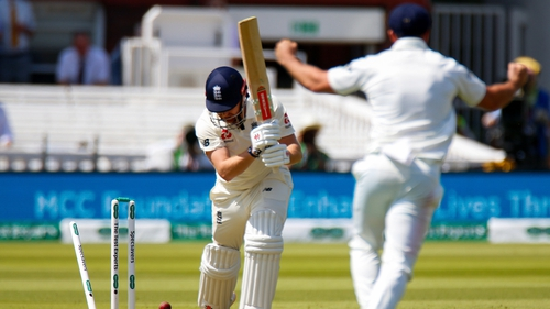 Jonny Bairstow of England is bowled out by Tim Murtagh