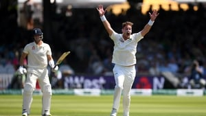Ireland's Mark Adair successfully appeals for the wicket of Joe Denly
