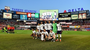 Liverpool line up for a team photo ahead of the game at the iconic New York venue
