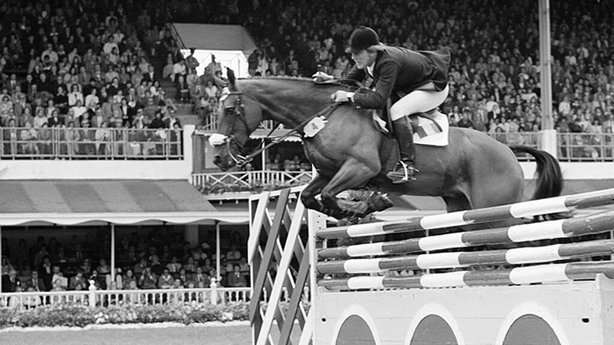 Eddie Macken competing in the Nations' Cup, Dublin Horse Show (1978)