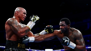 Dillian Whyte (r) has been accused of testing positive for a banned substance