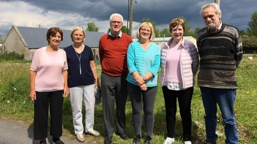 The Delaney children, outside the old house, Clonad 2019
