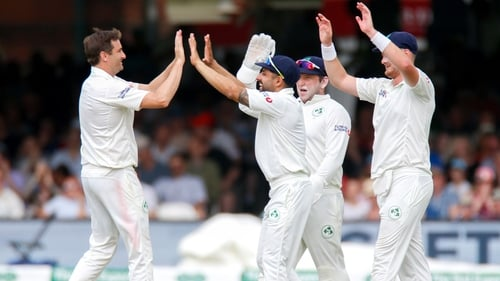 Irish players celebrate taking the wicket of Jack Leach