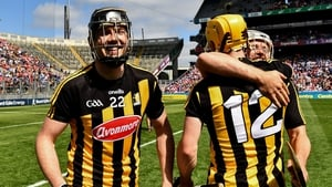 Walter Walsh of Kilkenny and team-mates Padraig Walsh and Richie Leahy after the win over Cork