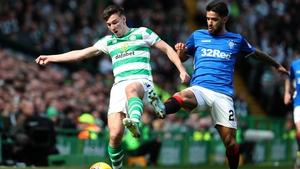 Kieran Tierney (L) in action for Celtic