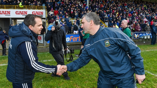 Davy Fitzgerald's Wexford got the better of Liam Sheedy (R) and Tipperary in the Allianz Hurling League in February