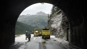 A hail storm and landslide made the road unsafe for riders