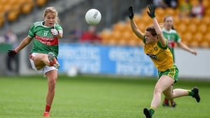 Sarah Rowe Mayo and Niamh Carr Donegal in action at Tullamore